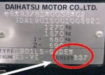 Kleurnummer Daihatsu