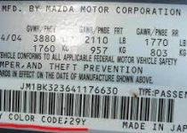 kleurnummer Mazda