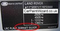 kleurnummer Rangerover